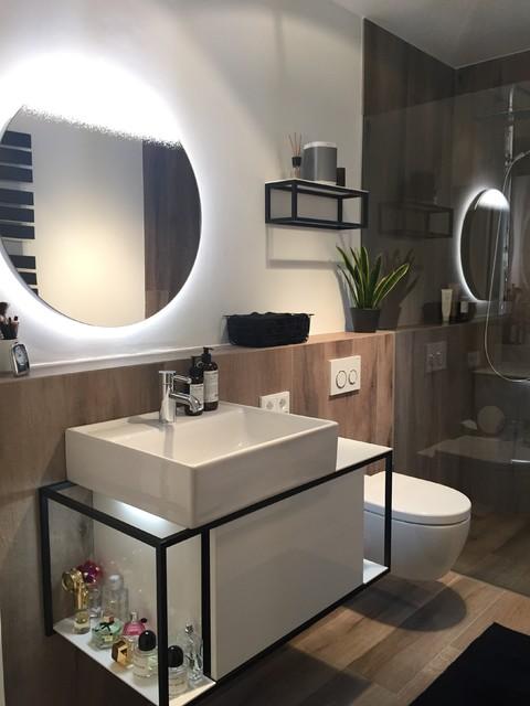 Duschbad mit Holzoptikfliesen | Schöllgen Haustechnik